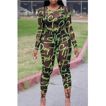 Lovely Sexy Letter Printed See-through Green Two--piece Pants Set