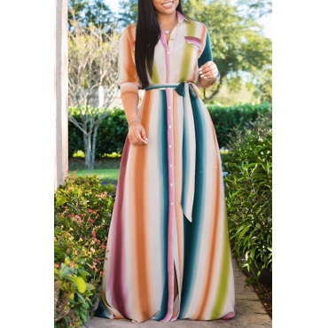 Lovely Stylish Turndown Collar Striped Lace-up Multicolor Floor Length A Line Dress
