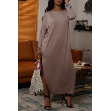 Lovely Casual O Neck Side Split Grey Ankle Length Dress