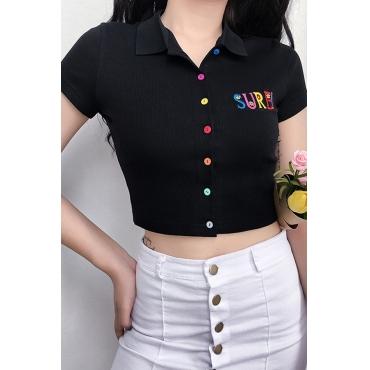 Lovely Casual V Neck Buttons Design Black Blouse