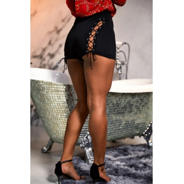 Lovely Leisure Lace-up Hollow-out Black Shorts
