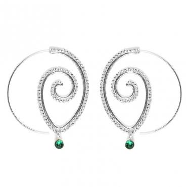 Lovely Stylish Rhinestone Decoration Silver Earring