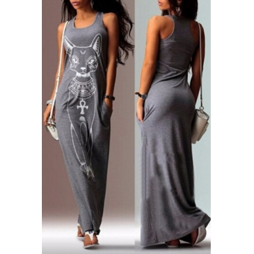 Lovely Casual U Neck Printed Grey Floor Length T-shirt Dress