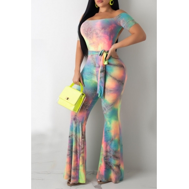 Lovely Casual Off The Shoulder Tie-dye Multicolor One-piece Jumpsuit