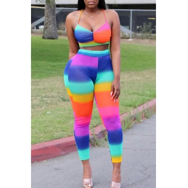 Lovely Sexy Spaghetti Straps Tie-dye Multicolor Two-piece Pants Set