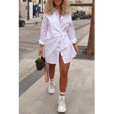 Lovely Casual Turndown Collar Buttons Design White Mini Dress