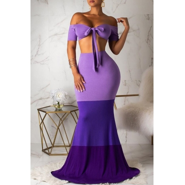 Lovely Sexy Off The Shoulder Patchwork Purple Two-piece Skirt Set