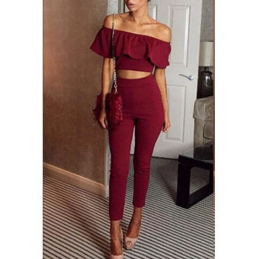 Lovely Stylish Off The Shoulder Ruffle Design Red Two-piece Pants Set