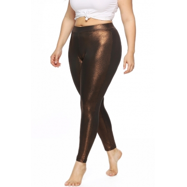 Lovely Casual Mid Waist Coffee Plus Size Pants