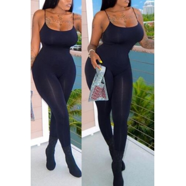 Lovely Casual Spaghetti Straps Black One-piece Jumpsuit