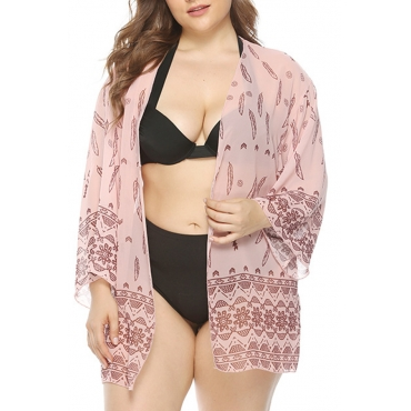 Lovely Bohemian Printed Pink Plus Size Cover-up
