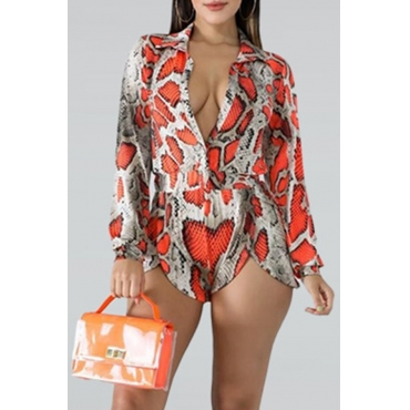 Lovely Stylish Snakeskin Pattern Printed Red One-piece Romper