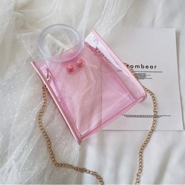 Lovely Stylish See-through Light Pink Pvc Messenger Bag