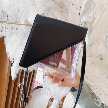 Lovely Stylish Patchwork See-through Black Pvc Messenger Bag
