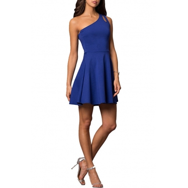 Lovely Stylish One Shoulder Hollow-out Blue Mini A Line Prom Dress