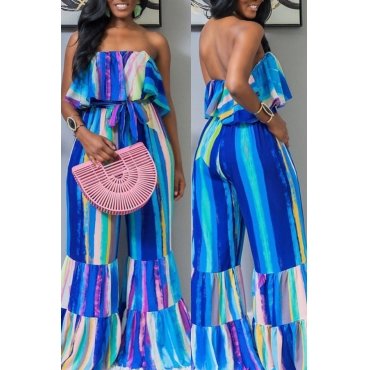 Lovely Casual Off The Shoulder Ruffle Striped Blue One-piece Jumpsuit