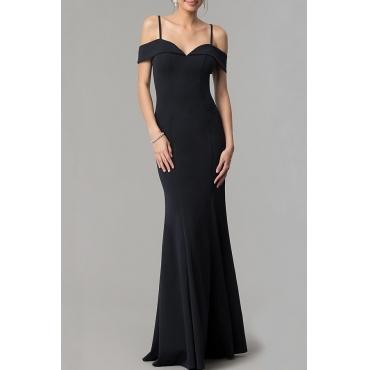 Lovely Elegant Off The Shoulder V Neck Spaghetti Straps Black Floor Length Prom Dress