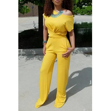 Lovely Casual One Shoulder Lace-up Yellow Two-piece Pants Set