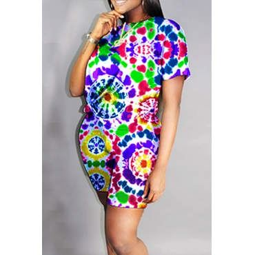 Lovely Casual O Neck Printed Multicolor Two-piece Shorts Set