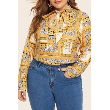 Lovely Stylish Printed Hollow-out Yellow Plus Size Blouse
