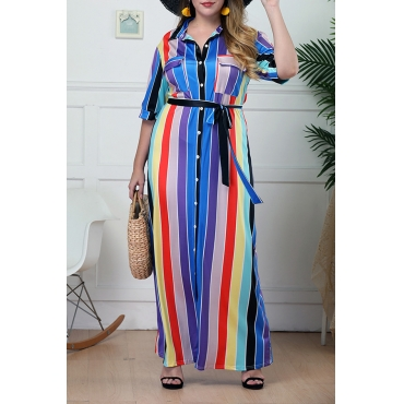 Lovely Casual Striped Multicolor Floor Length Plus Size Dress
