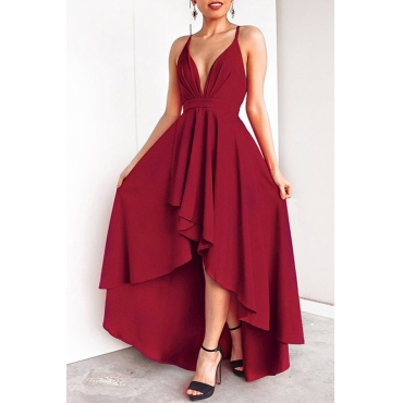 Lovely Casual Asymmetrical Wine Red Floor Length Prom Dress