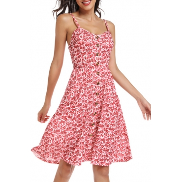 Lovely Casual Spaghetti Straps Floral Printed Red Knee Length A Line Dress