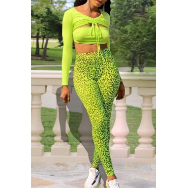 Lovely Leisure V Neck Hollow-out Leopard Printed Green Two-piece Pants Set