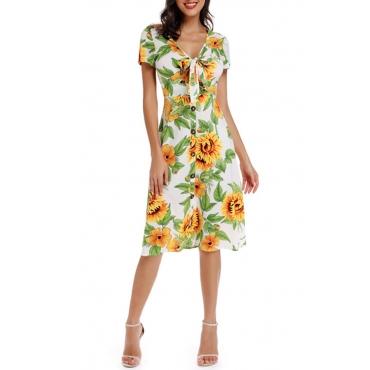 Lovely Casual V Neck Sunflower Printed White Knee Length Dress