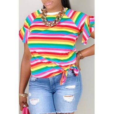 Lovely Casual O Neck Striped Multicolor T-shirt