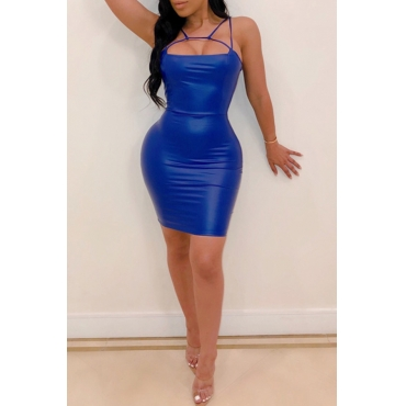 Lovely Sexy Spaghetti Straps Hollow-out Blue Mini Dress