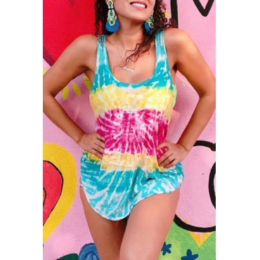 Lovely Casual O Neck Printed Multicolor Tank Top