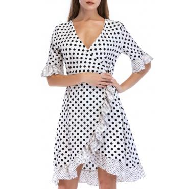 Lovely Sweet V Neck Dot Printed Ruffle Asymmetrical White Mini Dress