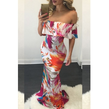 Lovely Casual Off The Shoulder Printed Multicolor Floor Length Dress