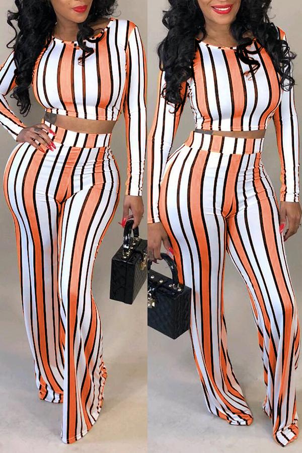 Lovely Stylish O Neck Striped Multicolor Two-piece Pants Set