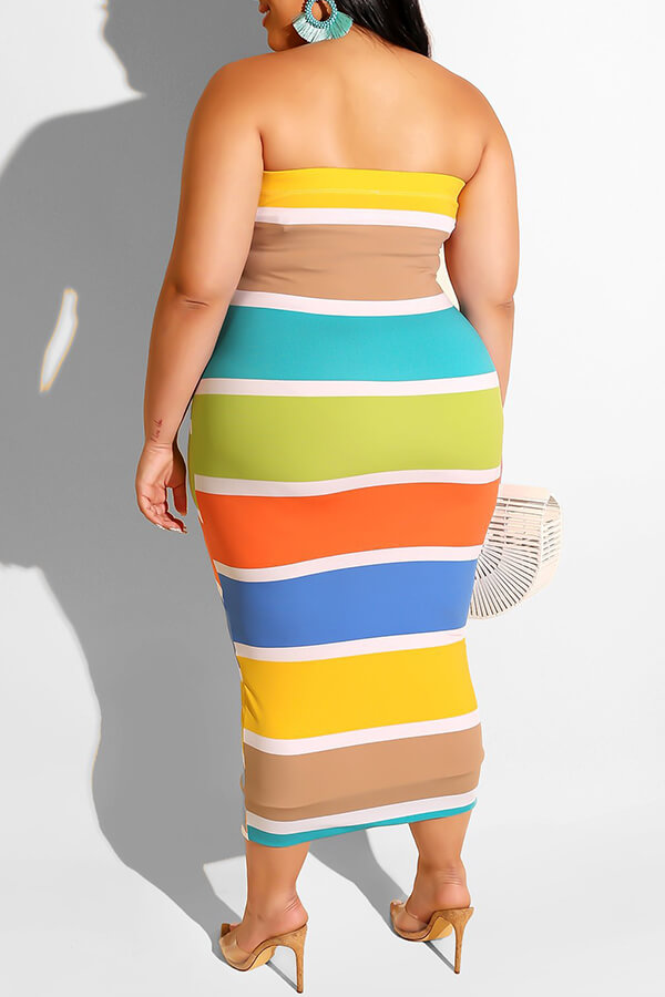Lovely Trendy Dew Shoulder Striped Multicolor Mid Calf Plus Size Dress