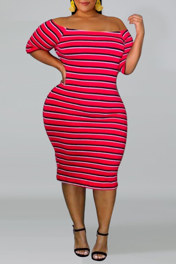 Lovely Casual Off The Shoulder Striped Red Knee Length Plus Size Dress