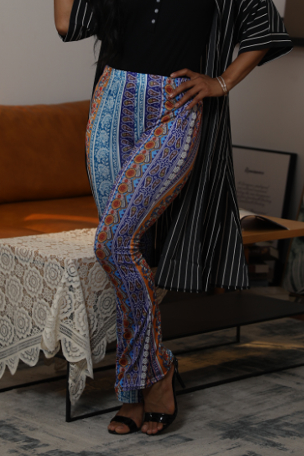 Lovely Stylish Mid Waist Printed Multicolor Pants