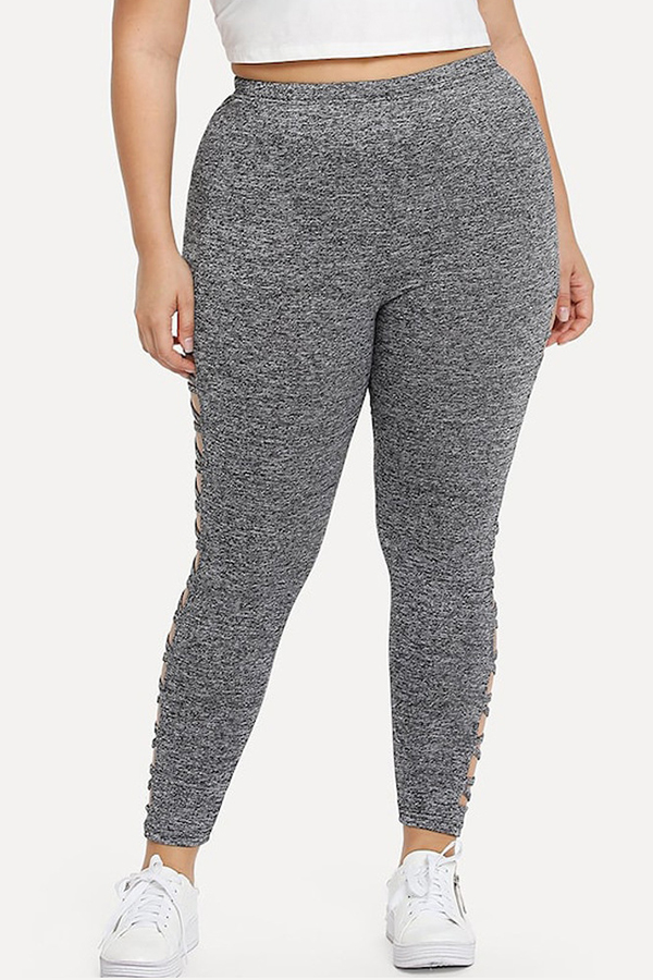 Lovely Casual Hollow-out Black Plus Size Pants