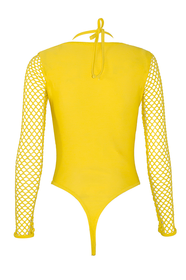 Lovely Halter Neck Hollow-out Yellow Tankinis