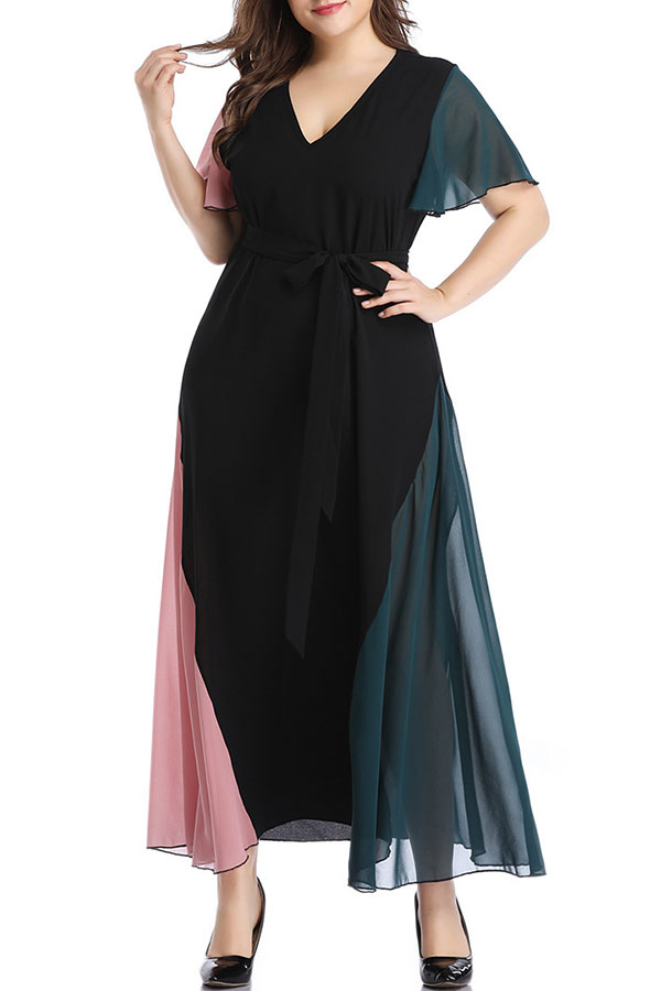 Lovely Bohemian Flare Sleeve Patchwork Multicolor Ankle Length A Line Plus  Size Dress