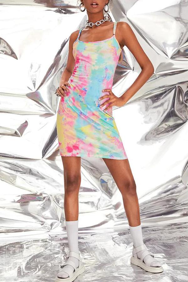 Lovely Casual Spaghetti Straps Tie-dye Multicolor Mini Dress