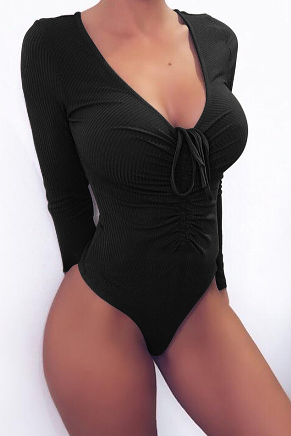 Lovely Sexy V Neck Drawstring Design Black Bodysuit