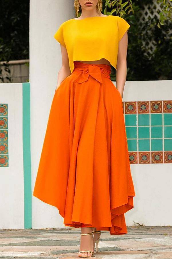 Lovely Sweet High Waist Croci Ankle Length A Line Skirt