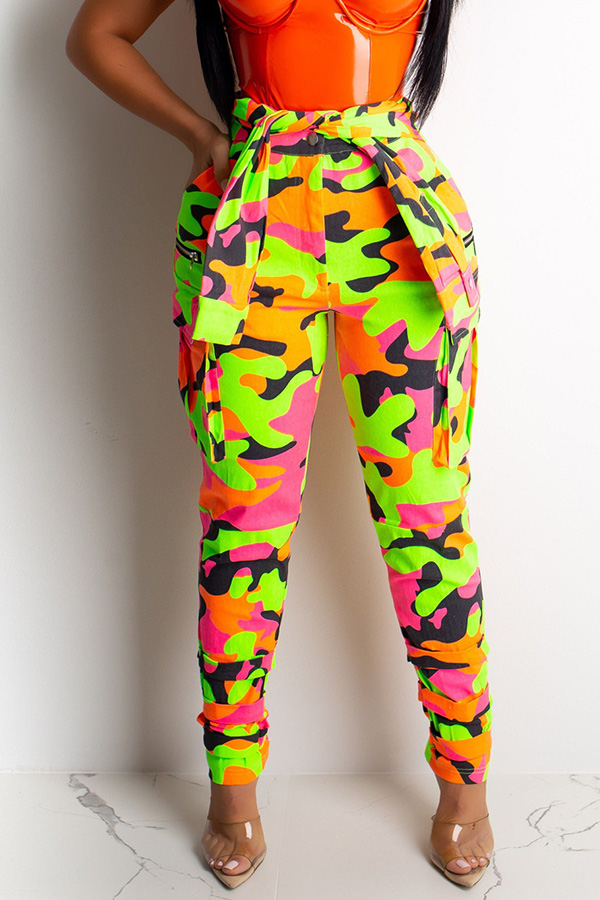 Lovely Casual Camouflage Printed Multicolor Pants