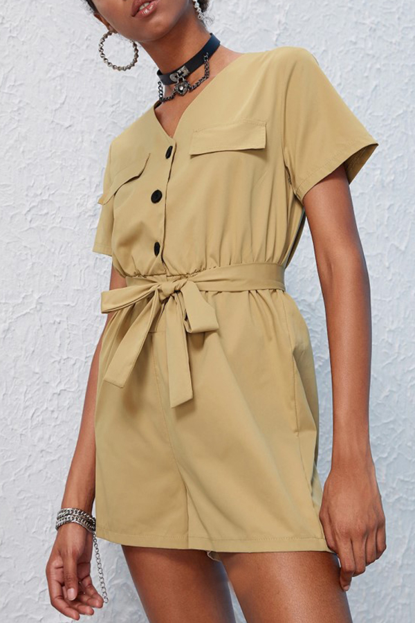 Lovely Work Buttons Design Lace-up Khaki One-piece Romper