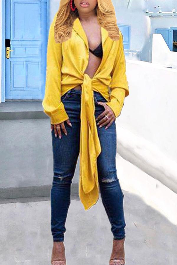 Lovely Casual Turndown Collar Yellow Shirt