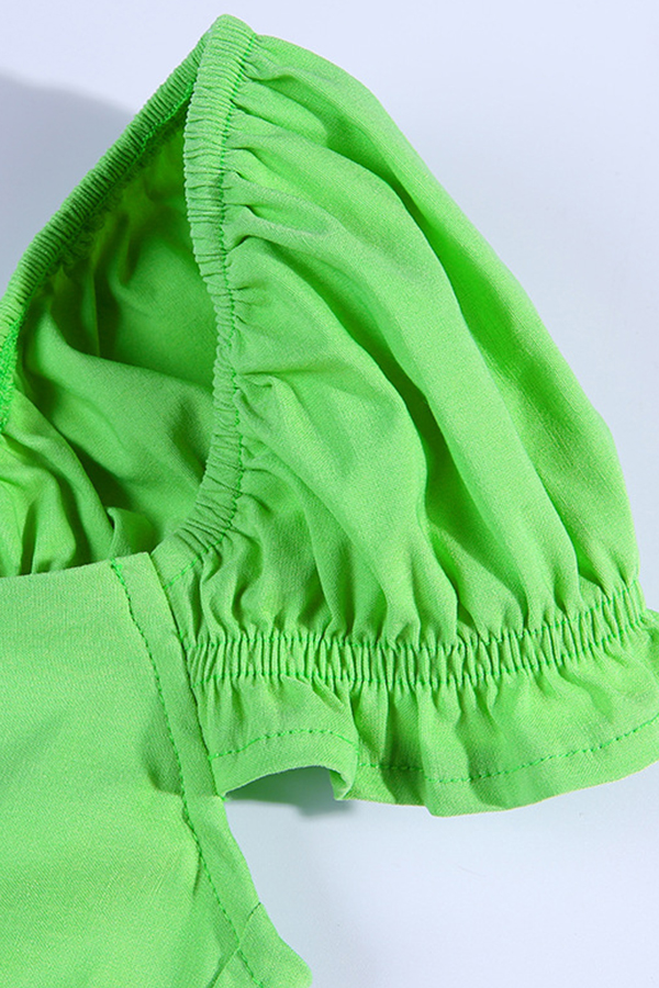 Lovely Sexy V Neck Hubble-bubble Sleeve Zipper Design Green Blouse