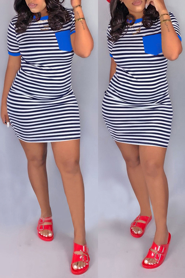 Lovely Casual O Neck Striped Patchwork Blue Mini Dress