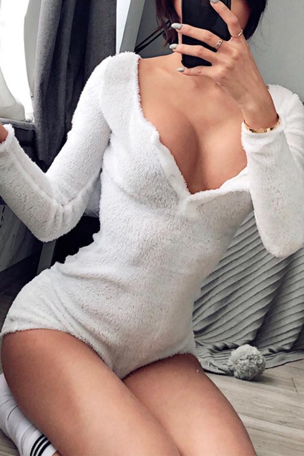 Lovely Sexy V Neck White Velvet One-piece Romper